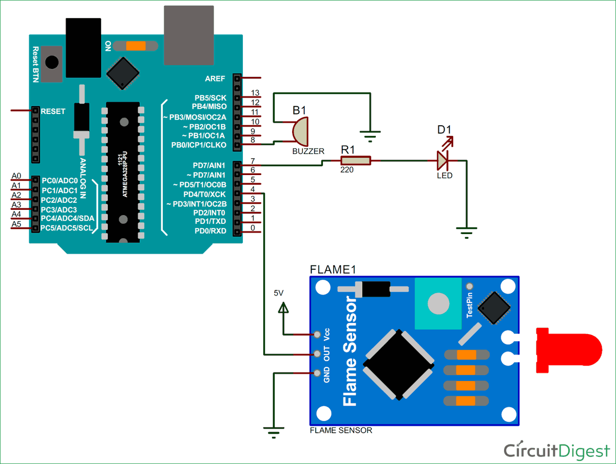 Arduino Flame Sensor Interfacing To Build A Fire Alarm System Buzzer Wiring Diagram Circuit