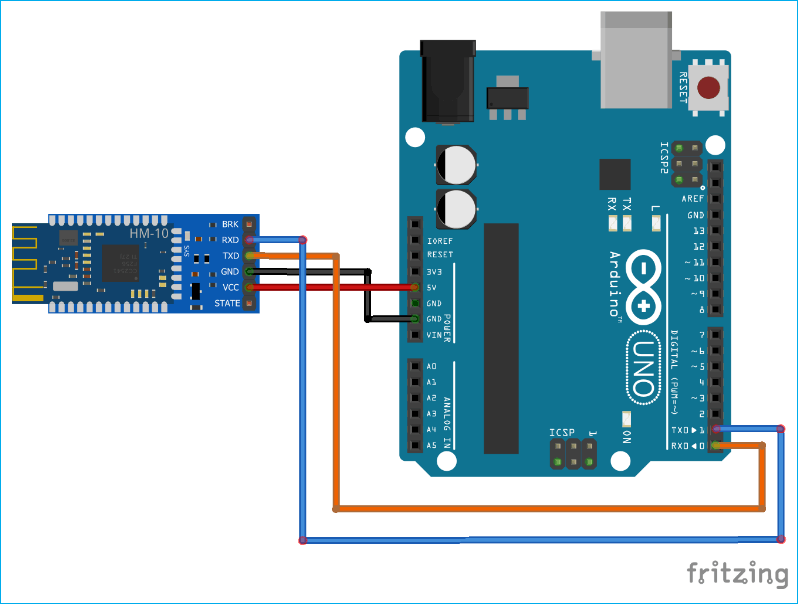Arduino HM-10 BLE Module Connection Circuit Diagram