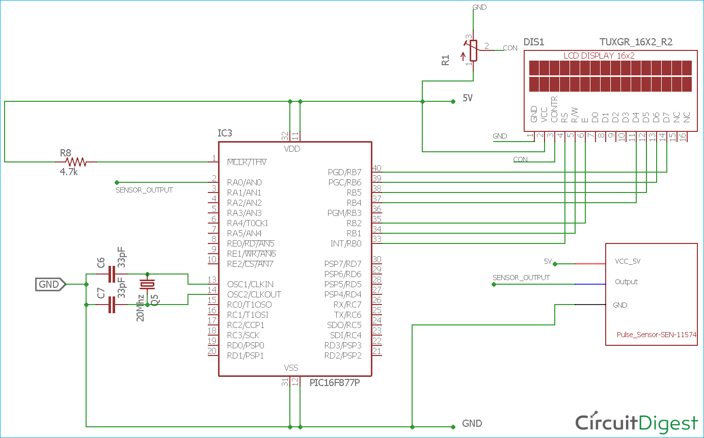 Heart Beat Monitoring Circuit Diagram Using Pic Microcontroller And Line Isolation Monitor Wiring Pulse Sensor
