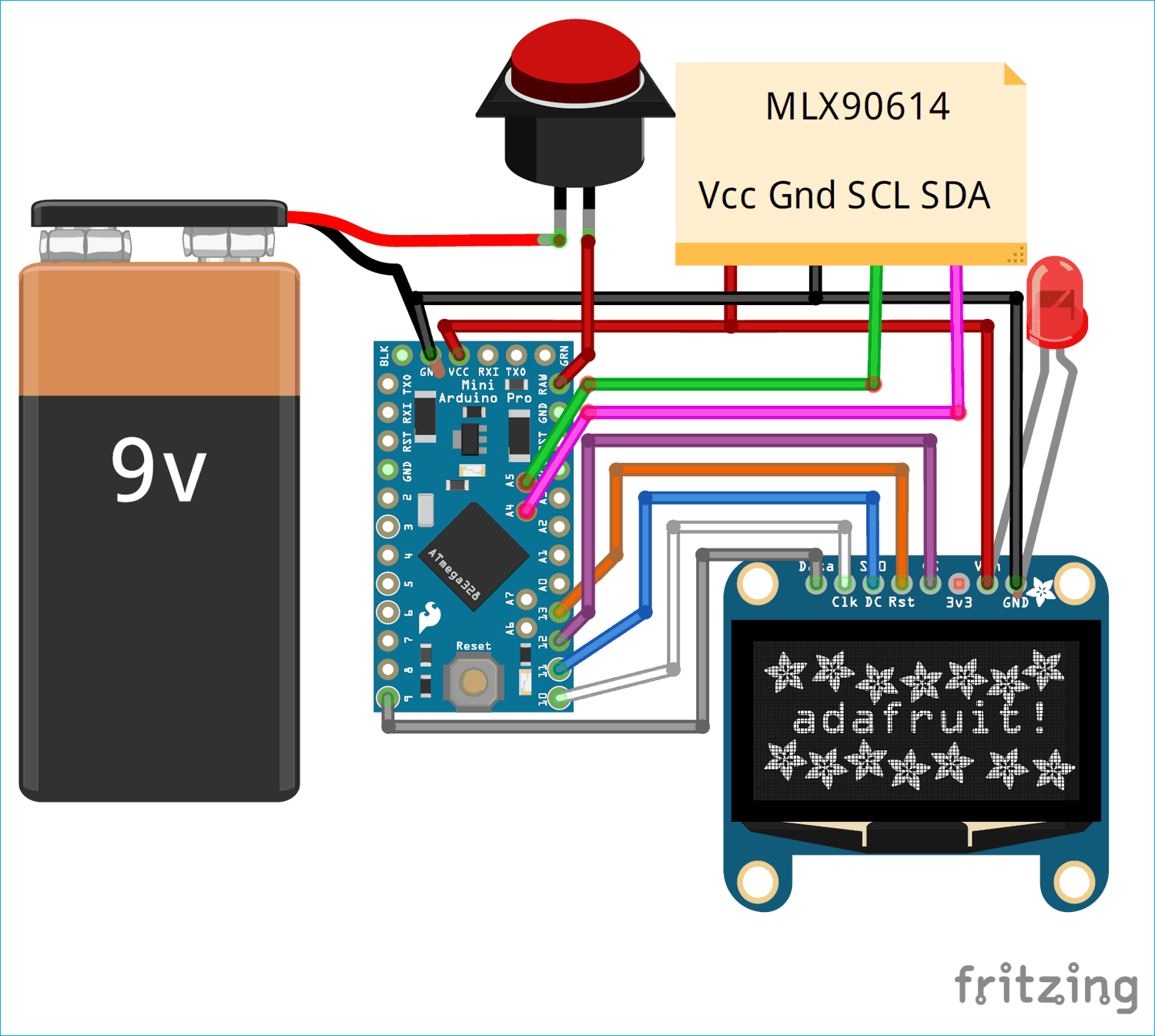 Circuit Diagram for IR Thermometer using Arduino and Infrared Temperature Sensor