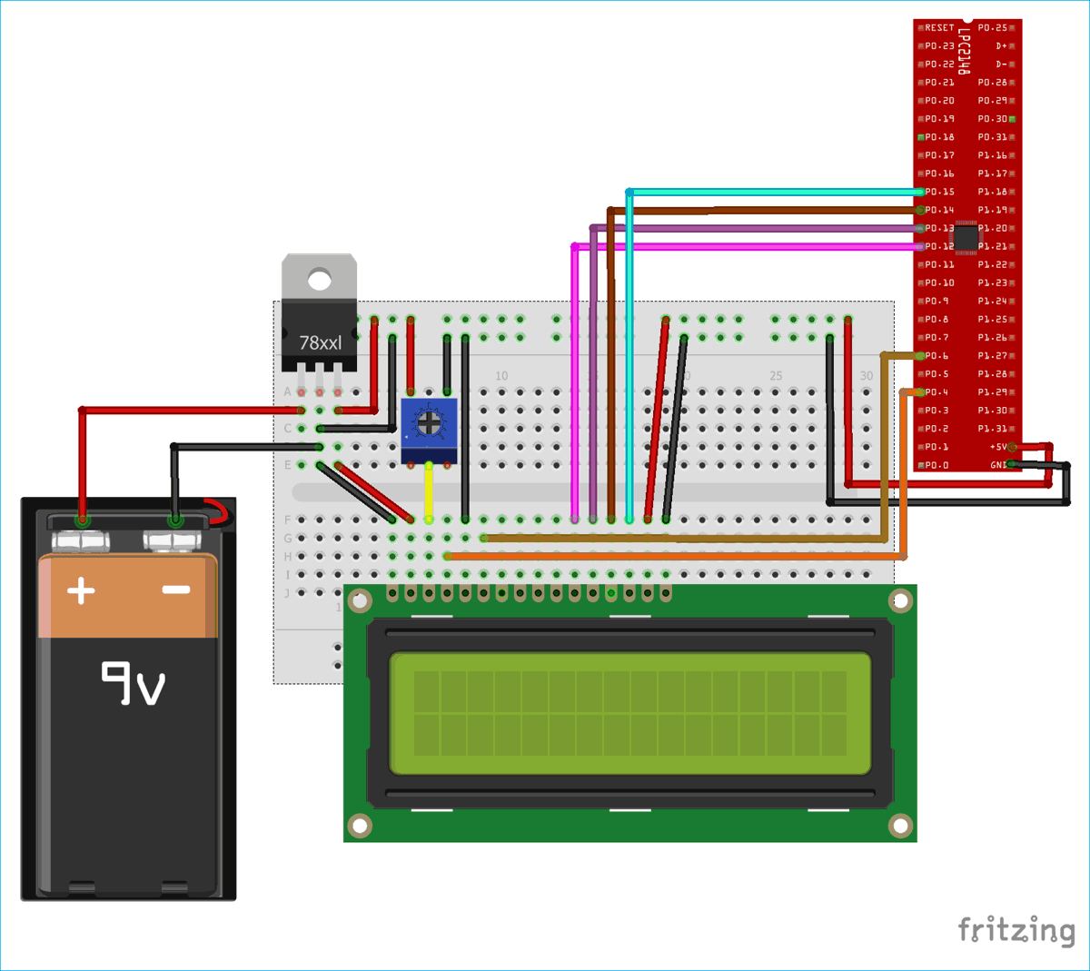 Circuit Diagram for Interfacing 16x2 LCD with ARM7-LPC2148 in 4-Bit Mode