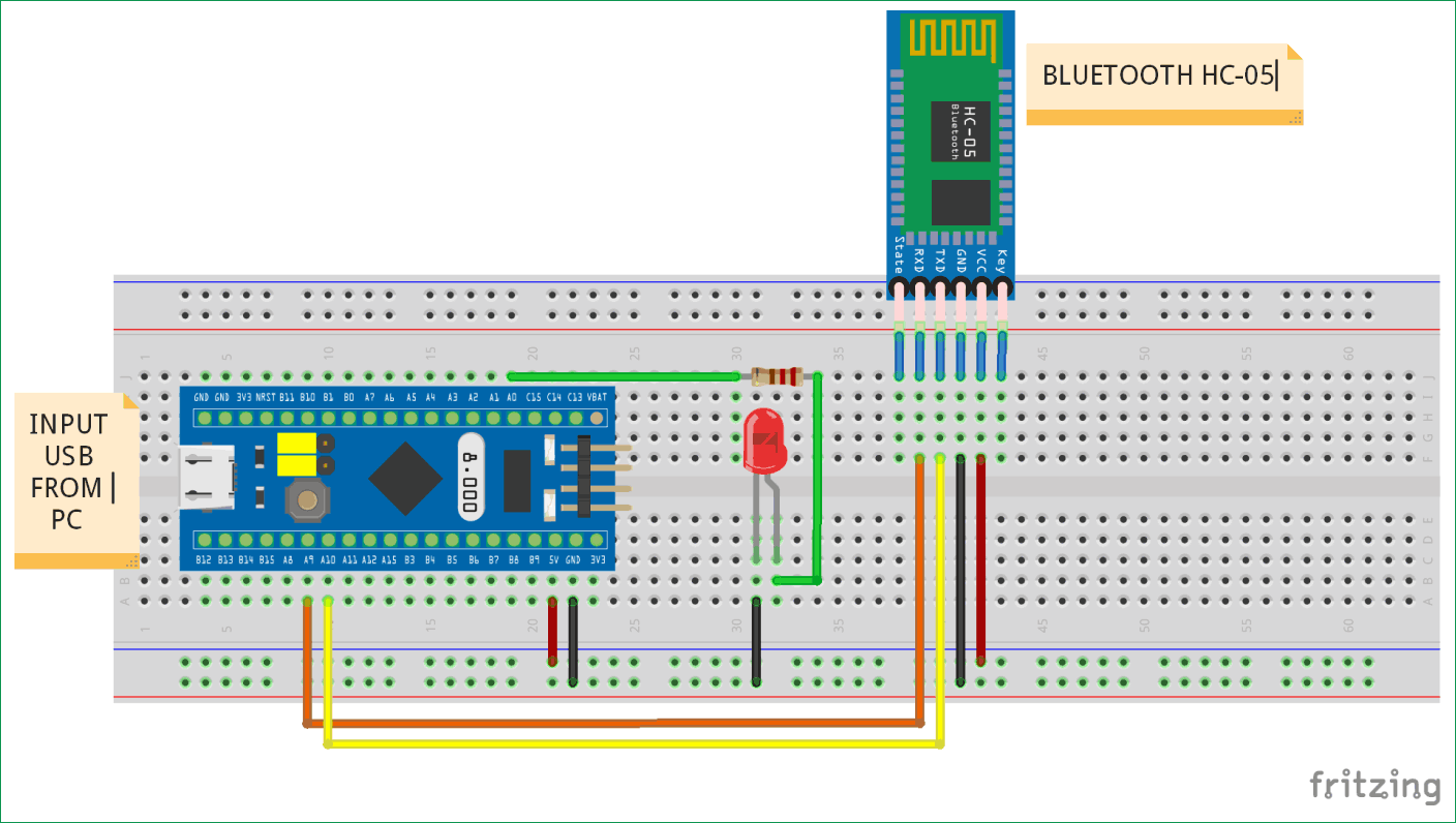 Interfacing Bluetooth HC-05 with STM32F103C8 Blue Pill