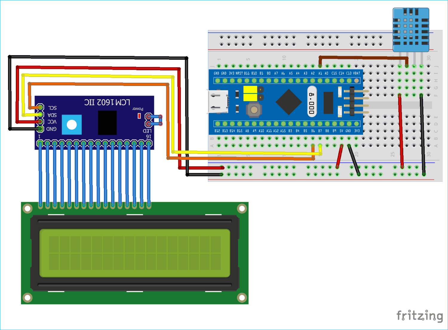 Circuit Diagram for Interfacing DHT11 Temperature & Humidity Sensor with STM32F103C8