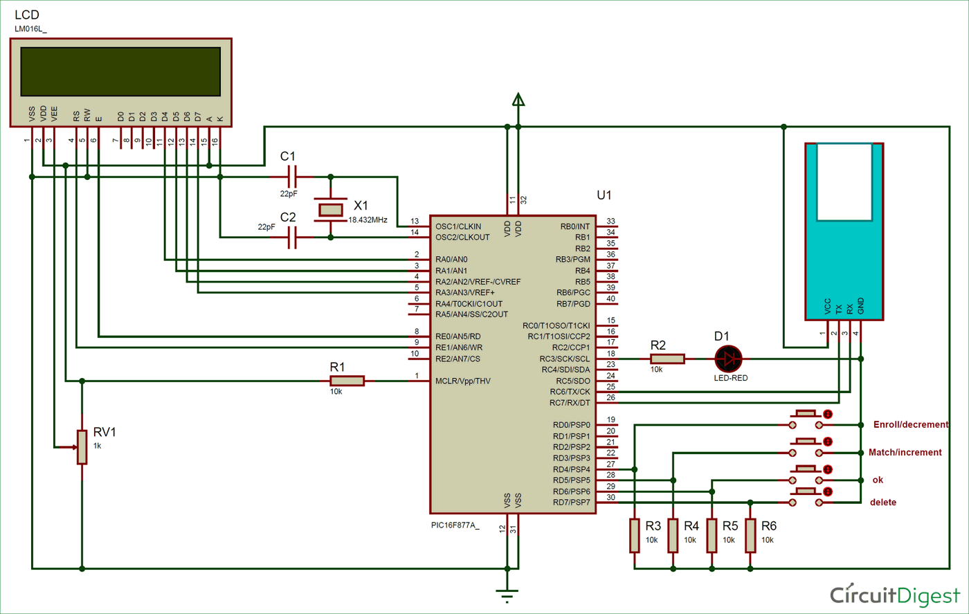 Circuit Diagram for Interfacing Fingerprint Sensor with PIC Microcontroller