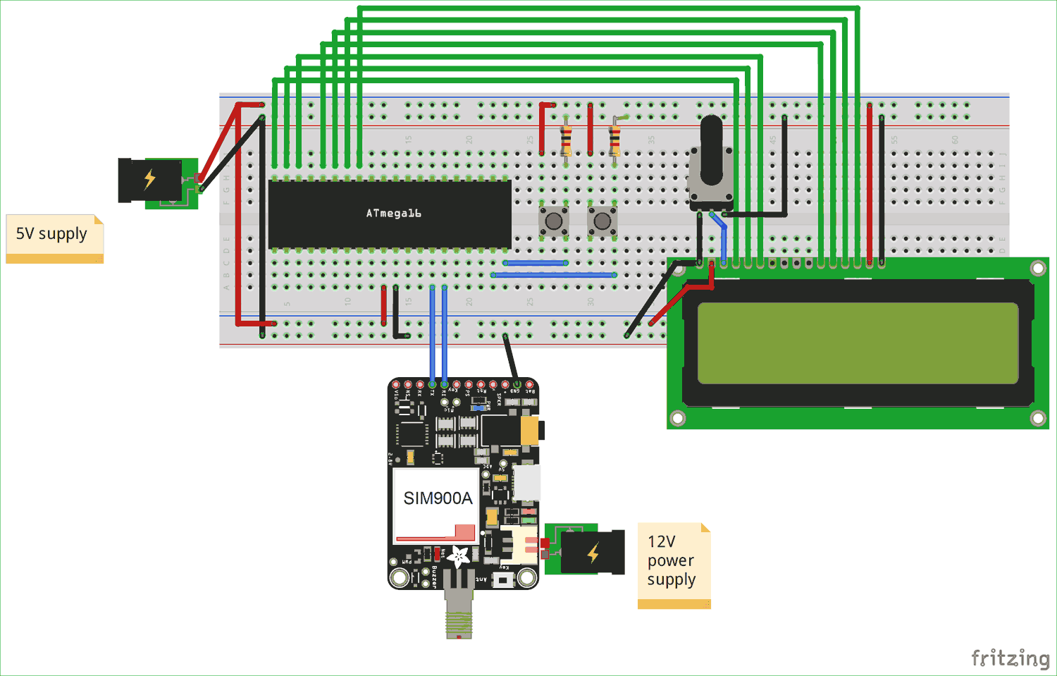 Circuit Diagram for Interfacing GSM Module with AVR Microcontroller