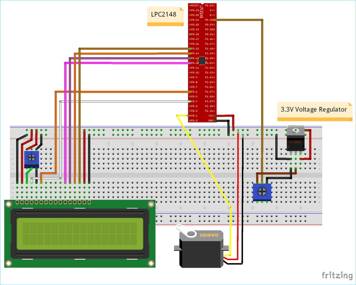 Circuit Diagram for Interfacing Servo Motor with ARM7-LPC2148