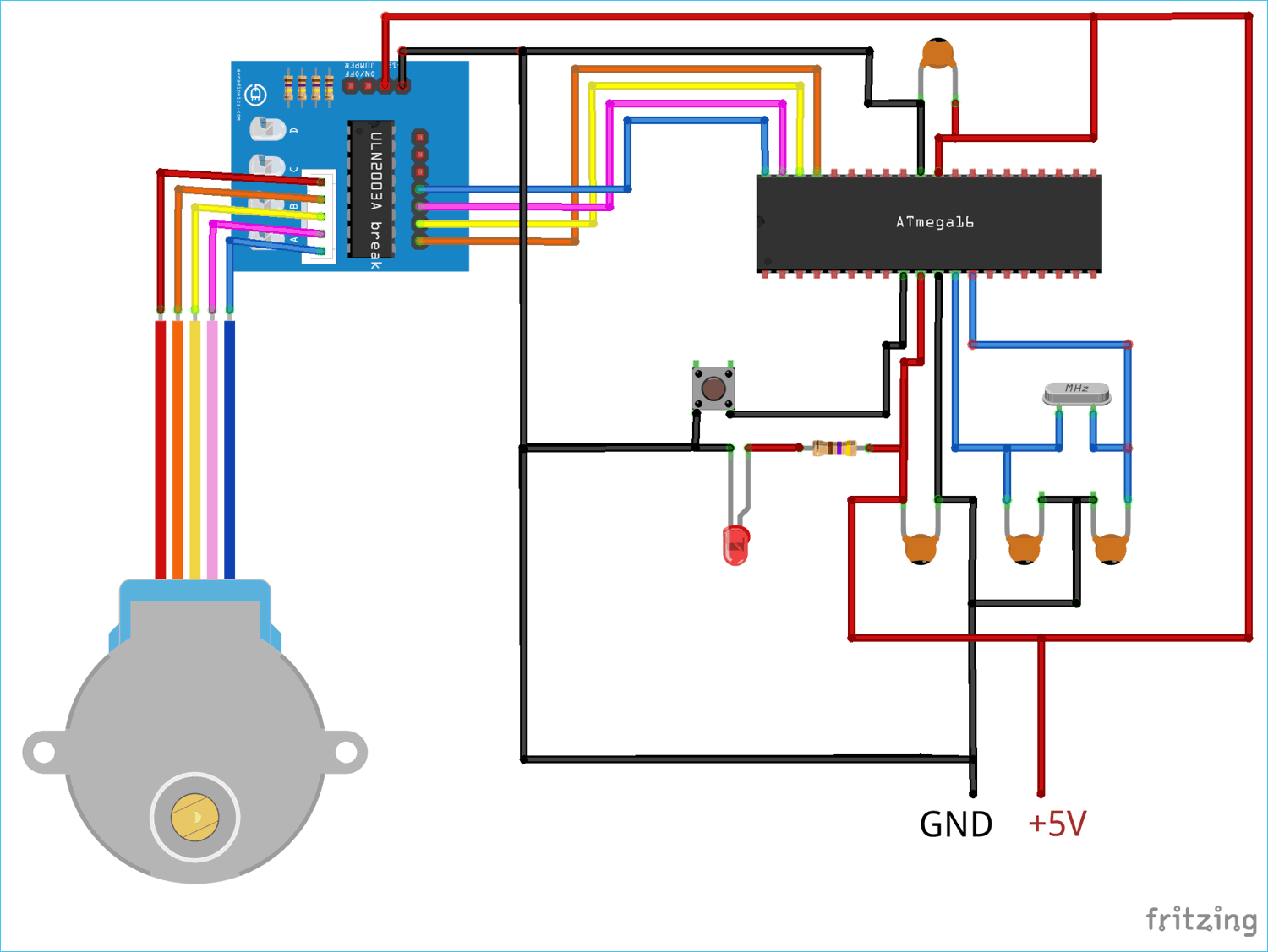 Circuit Diagram for Interfacing Stepper Motor with AVR Microcontroller Atmega16 using ULN2003