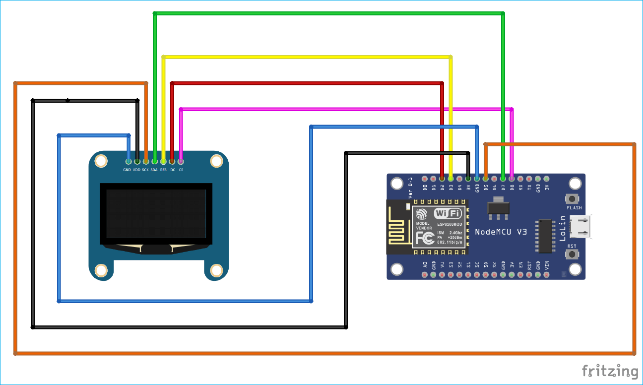 ESP8266 OLED Connections Circuit Diagram