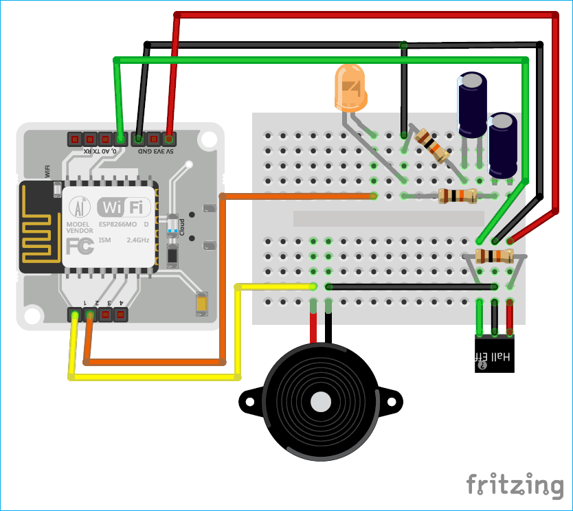 Circuit Diagram for IoT based Door Security Alarm controlled by Google assistant