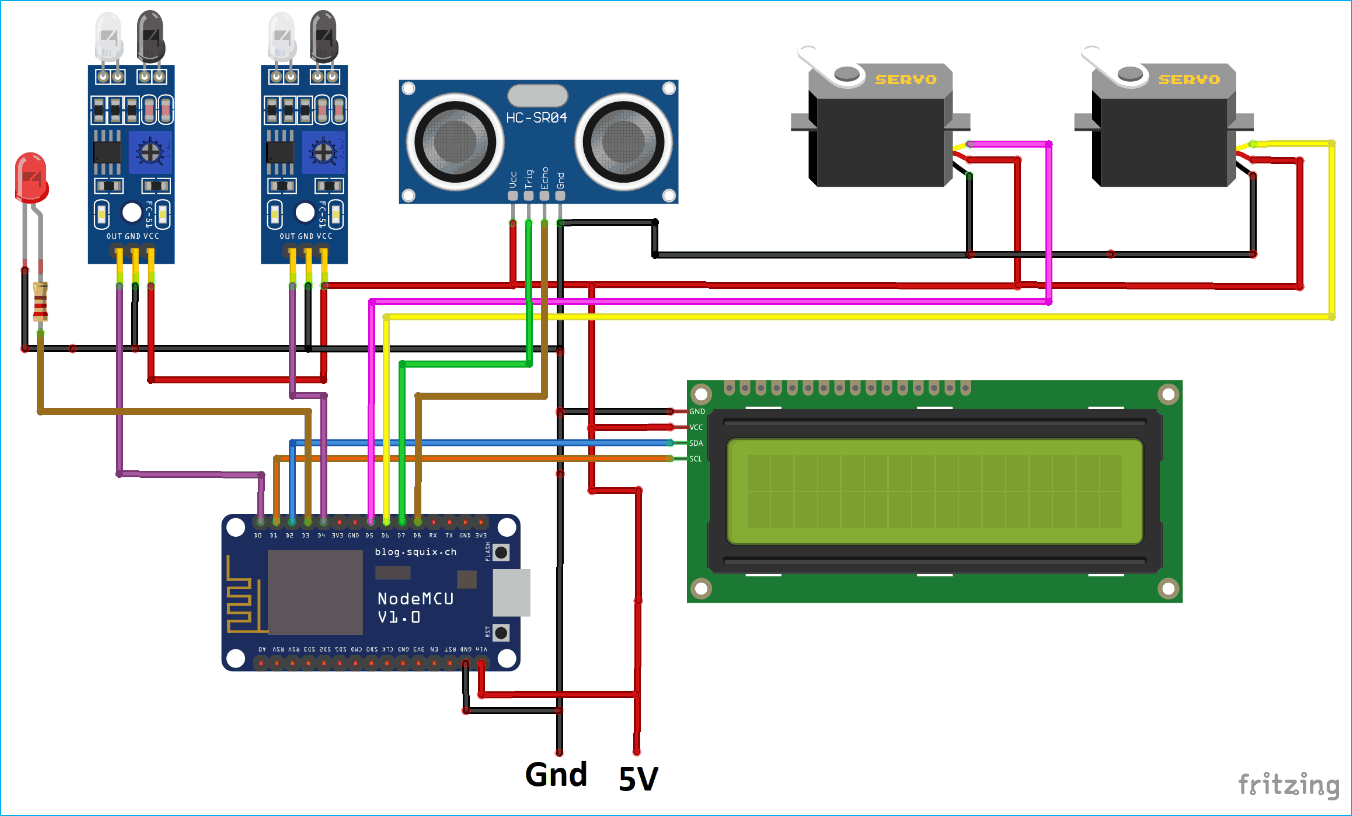 Circuit Diagram for IoT based Smart Parking System using ESP8266 NodeMCU