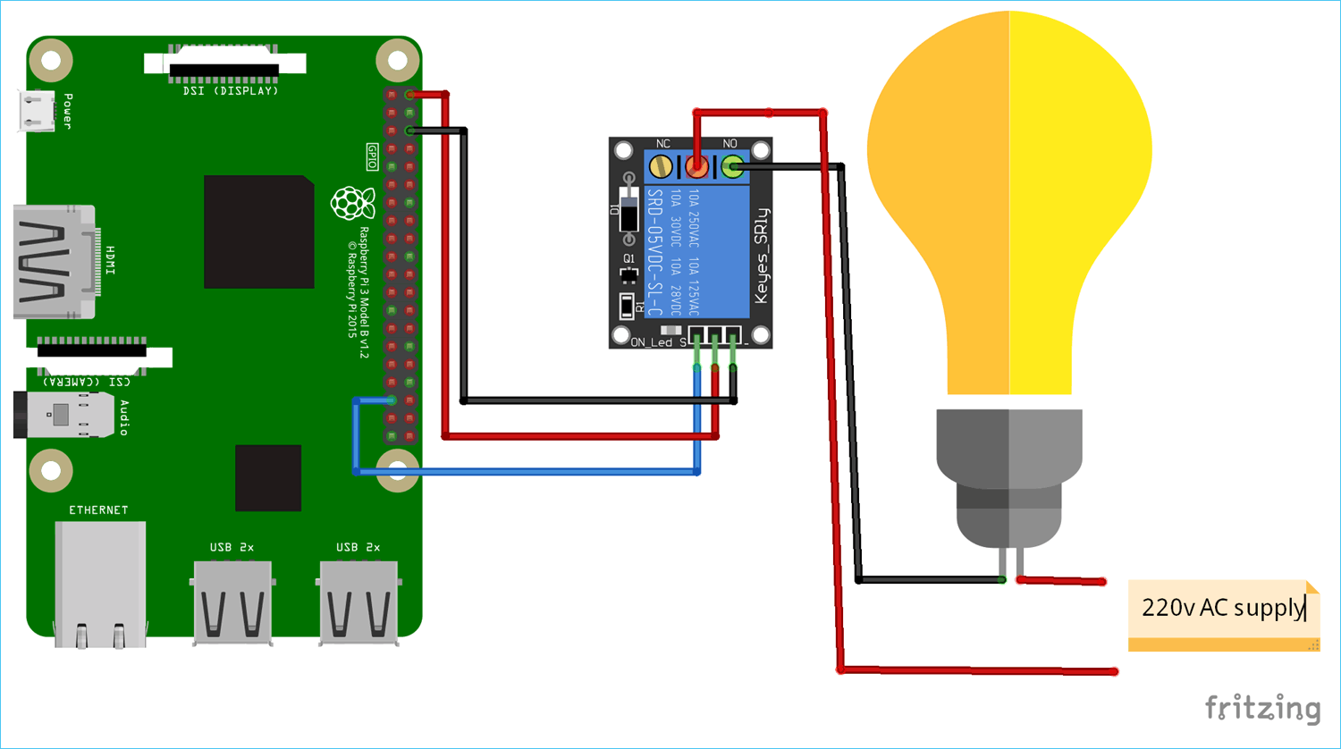 Raspberry Pi Home Automation Project Circuit Diagram