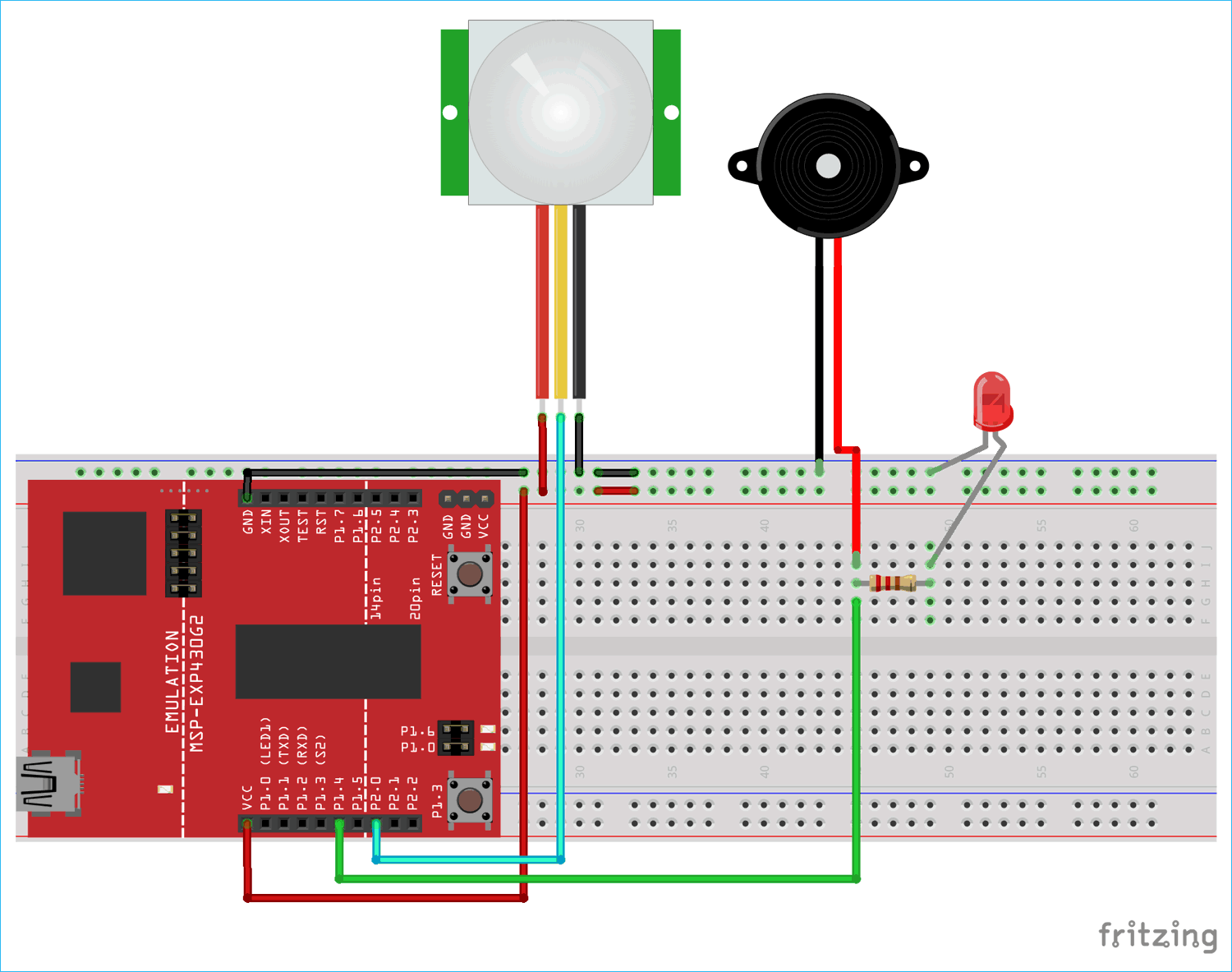 Circuit Diagram for Motion Detector Using MSP430 Launchpad and PIR Sensor