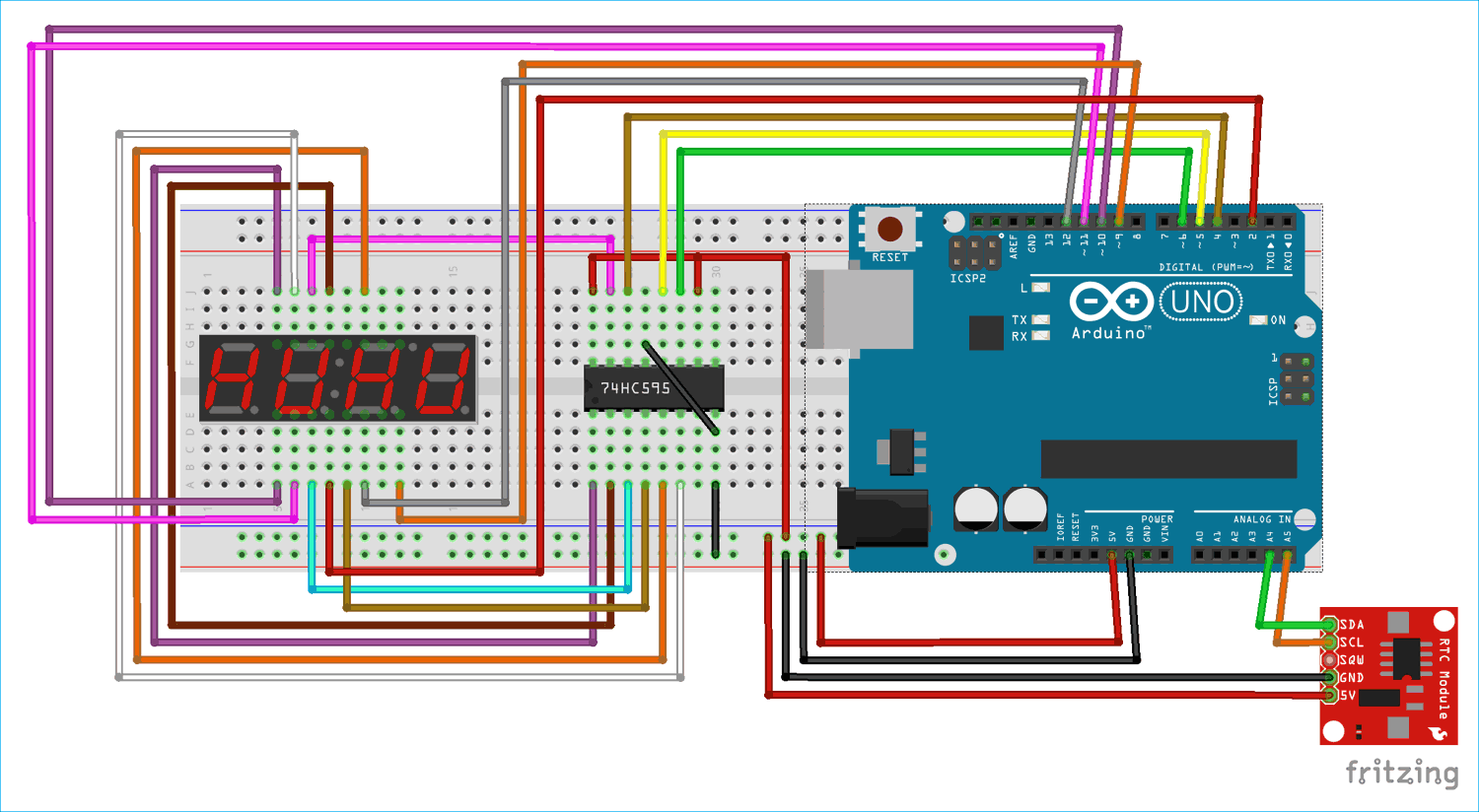 Arduino 7 Segment Display Clock Project By Multiplexing