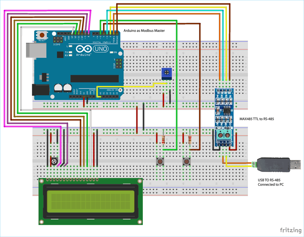Circuit Diagram for RS-485 MODBUS Serial Communication with Arduino as Master