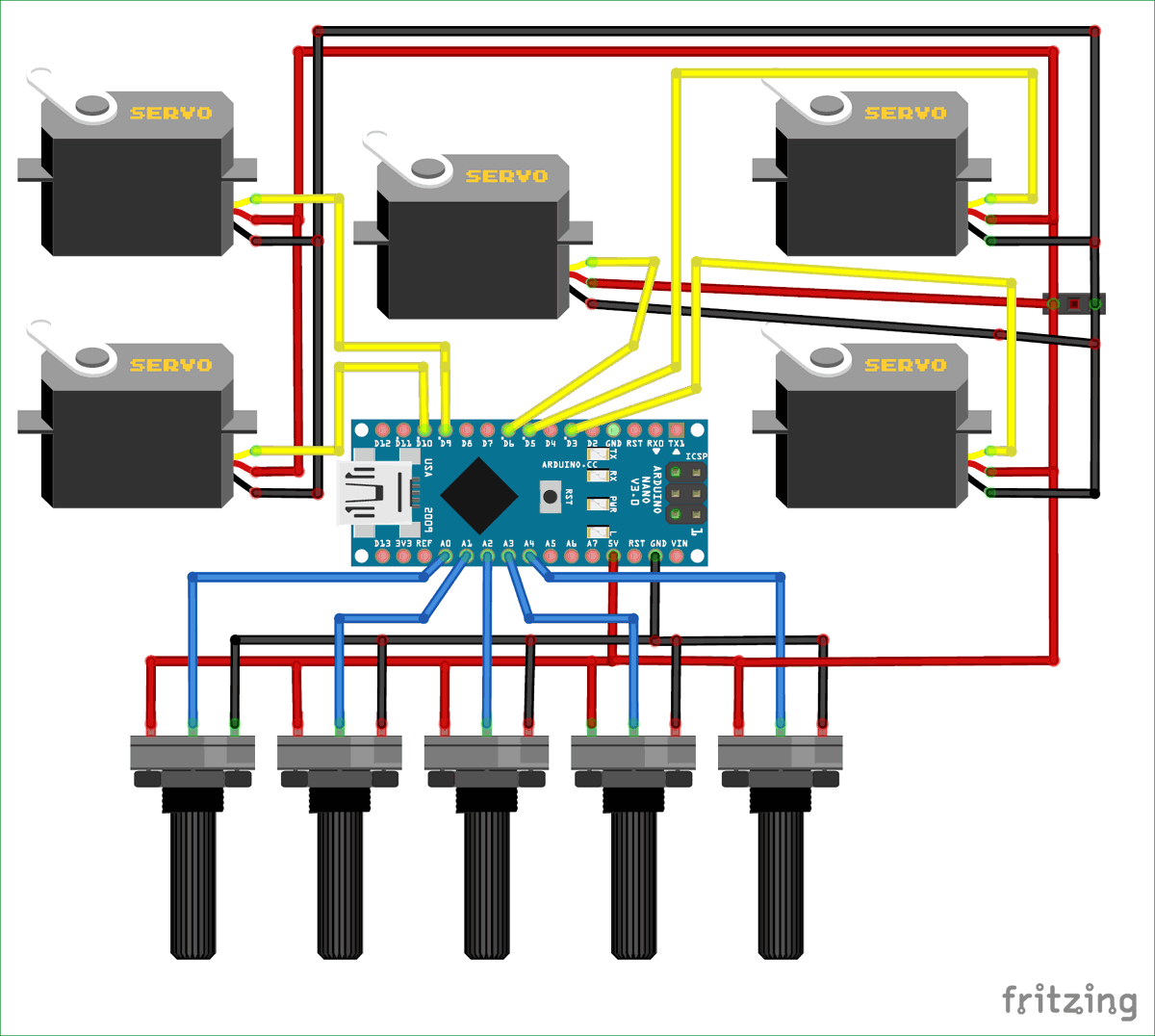 Circuit Diagram for Record and Play 3D Printed Robotic Arm using Arduino