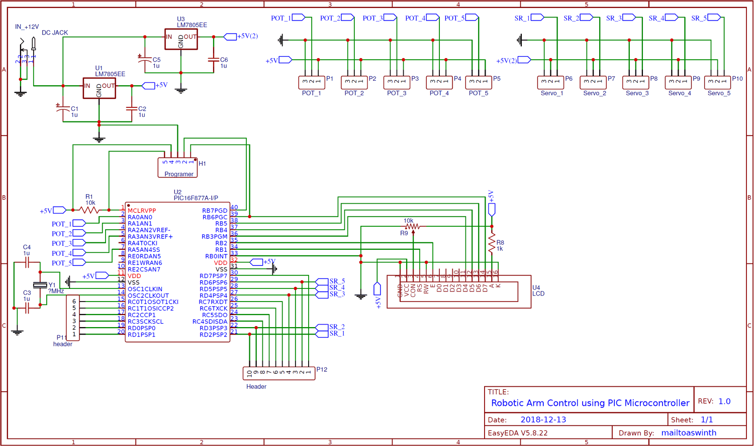 Circuit Diagram for Robotic Arm Control using PIC Microcontroller