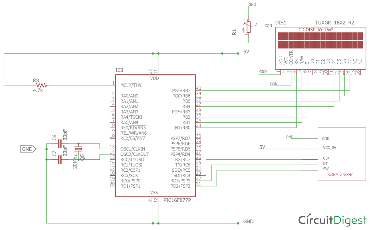 Circuit Diagram for Rotary Encoder interfacing with PIC Microcontroller