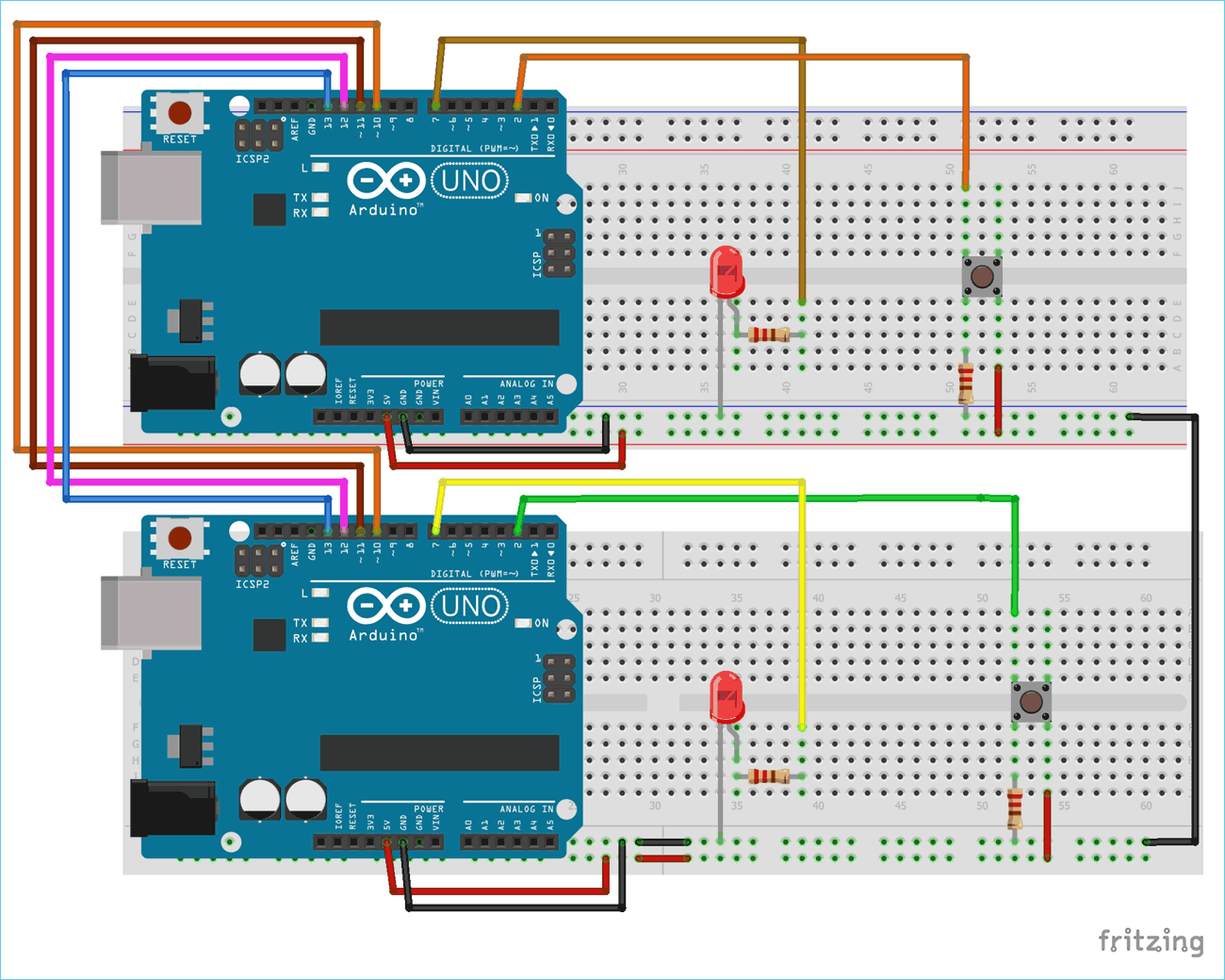 Circuit Diagram for SPI Communication between Two Arduinos