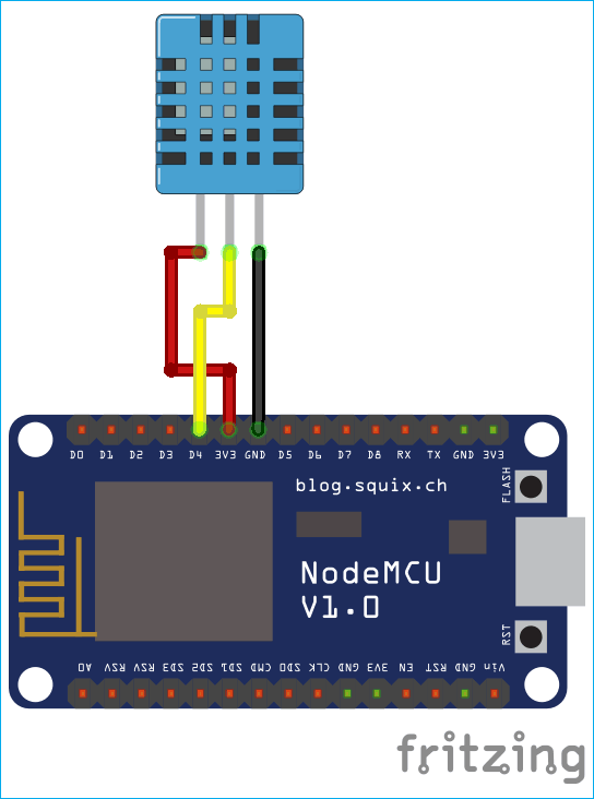 Circuit Diagram for  Sending data to Firebase Real-Time Database using NodeMCU8266