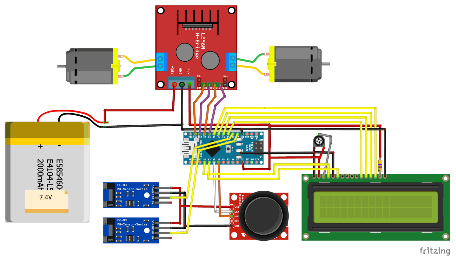 Circuit Diagram for Speed, Distance Measurement for Mobile Robots using Arduino and LM393 Sensor (H206)
