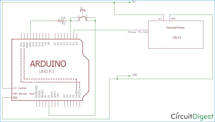 Circuit Diagram for Thermal Printer Interfacing with Arduino Uno