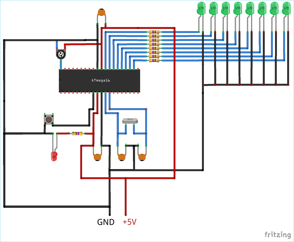How to use ADC in AVR Microcontroller ATmega16   Circuit