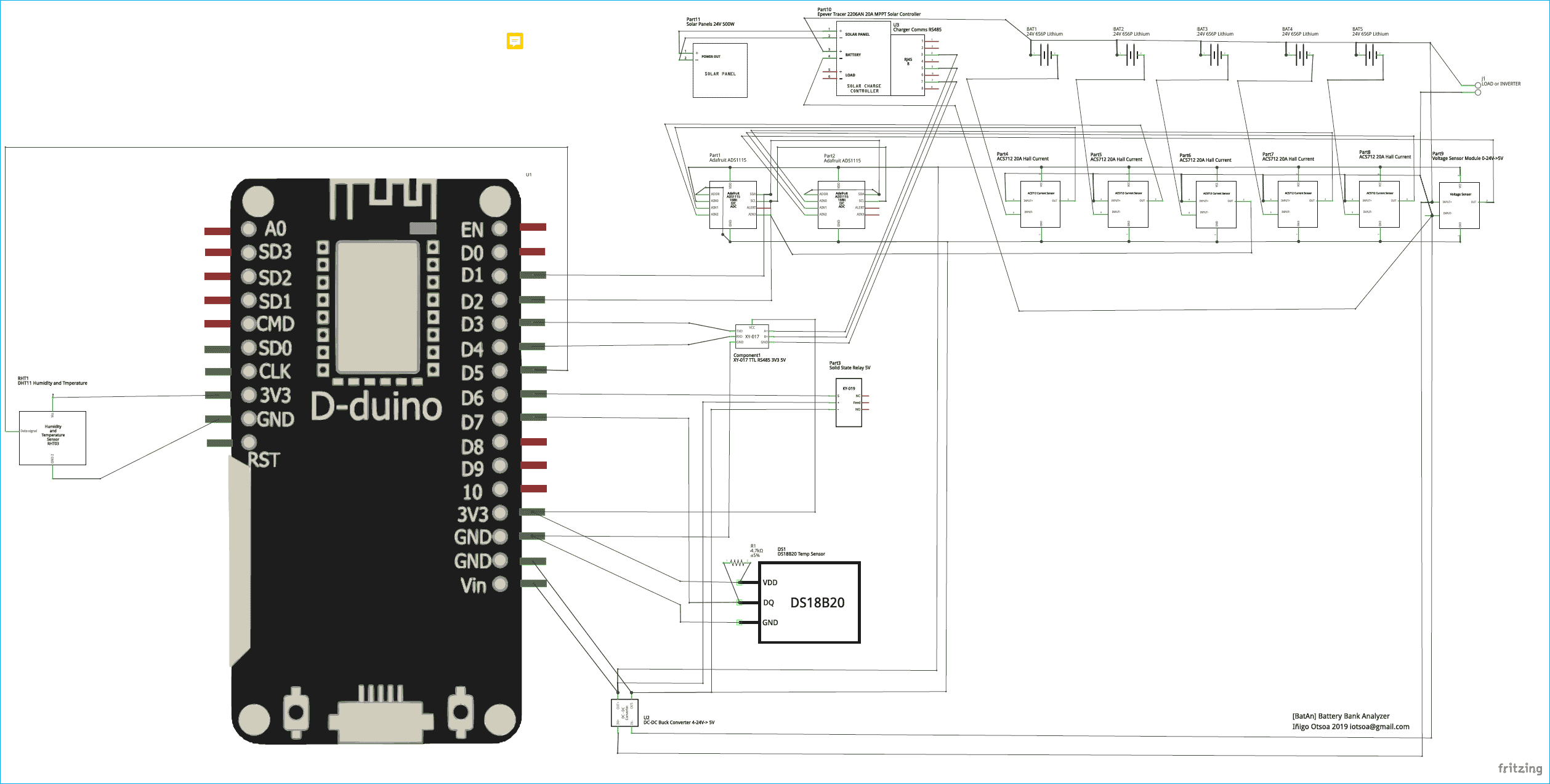 Circuit Diagram of IoT based Lithium Battery Monitoring System using ESP8266