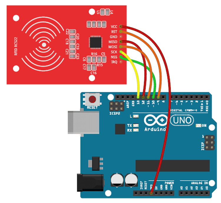 Circuit Diagram to Interface RC522 with Arduino