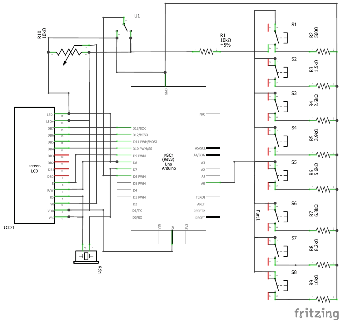 Circuit diagram for Arduino based Piano with Recording and Replay