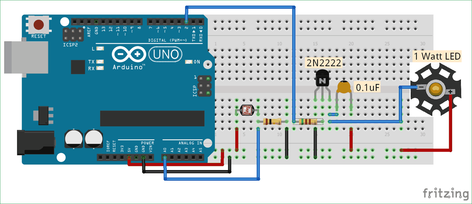 Circuit diagram for Auto Intensity Control of Power LED using Arduino