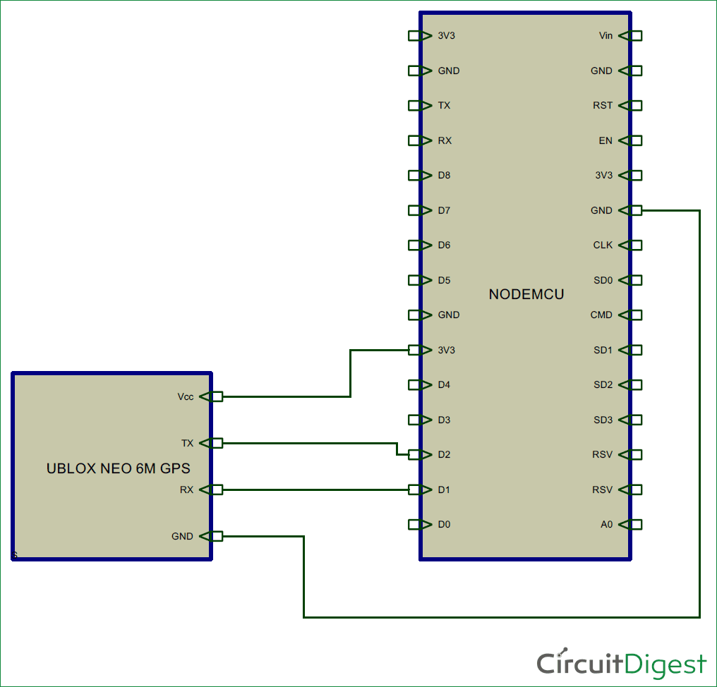 Gps Interfacing With Nodemcu Esp12 Getting Location Data Charger Wiring Diagram Circuit For