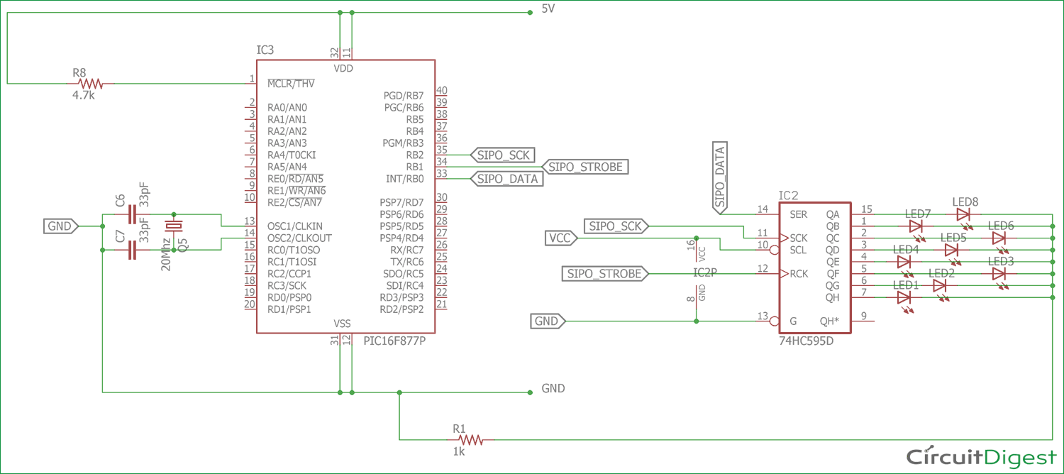 Interfacing 74HC595 Serial Shift Register with PIC