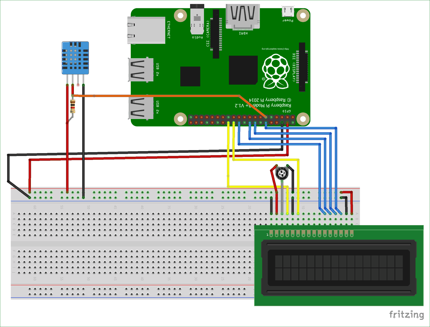 Circuit diagram for Interfacing DHT11 with Raspberry Pi