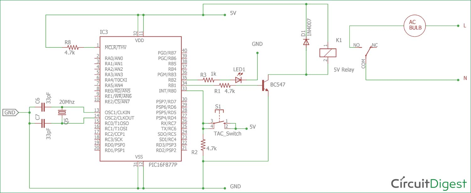 Circuit diagram for Interfacing Relay with PIC Micro-controller