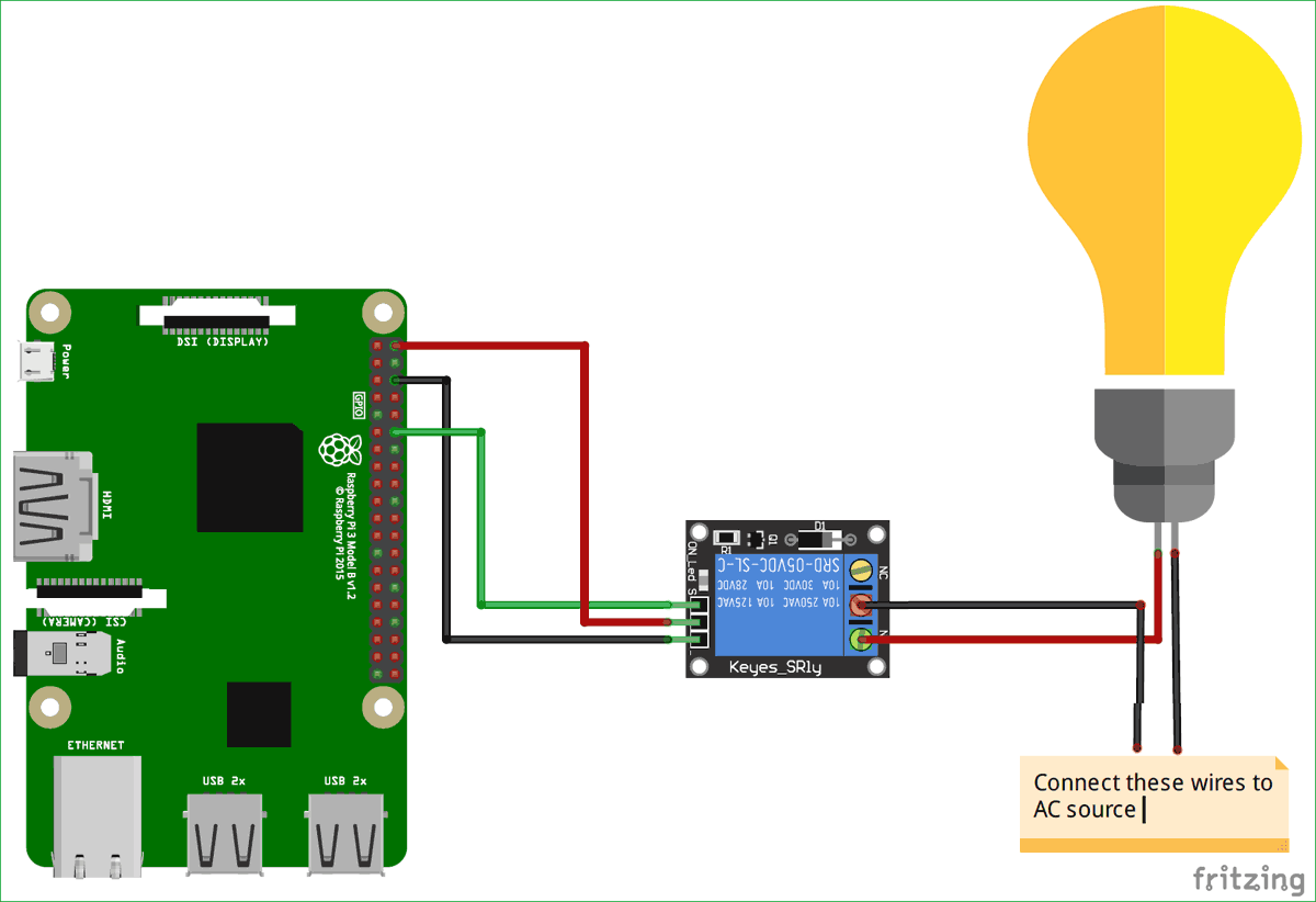 Circuit diagram for Voice controlled Home automation using Amazon Alexa on Raspberry Pi