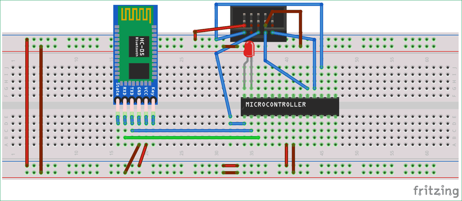 Circuit Diagram for Interfacing HC-05 Bluetooth module with Atmega8