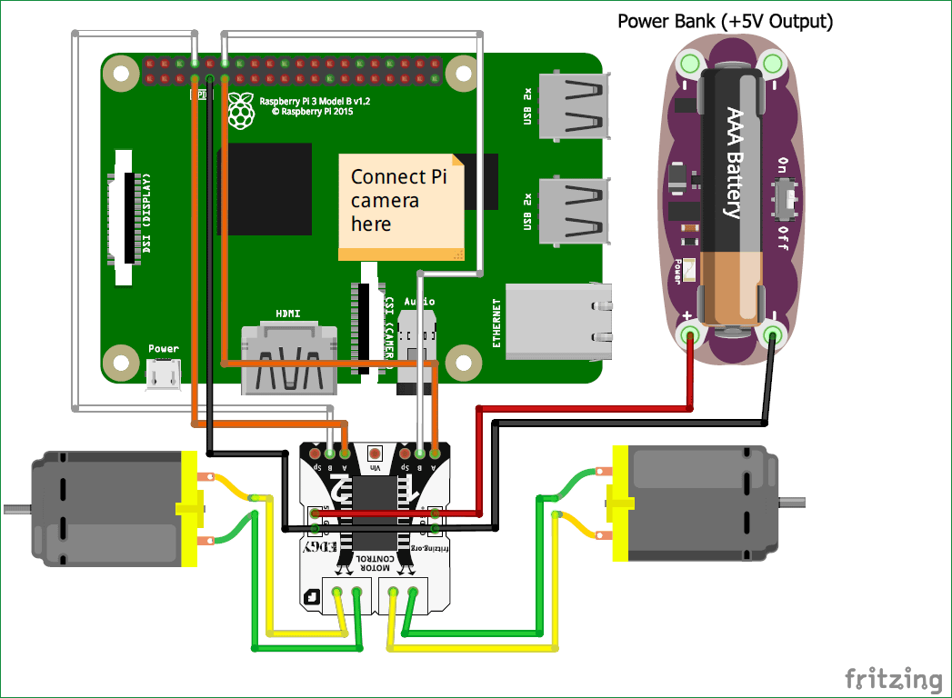 circuit diagram of Raspberry Pi Ball Follower Robot using processing