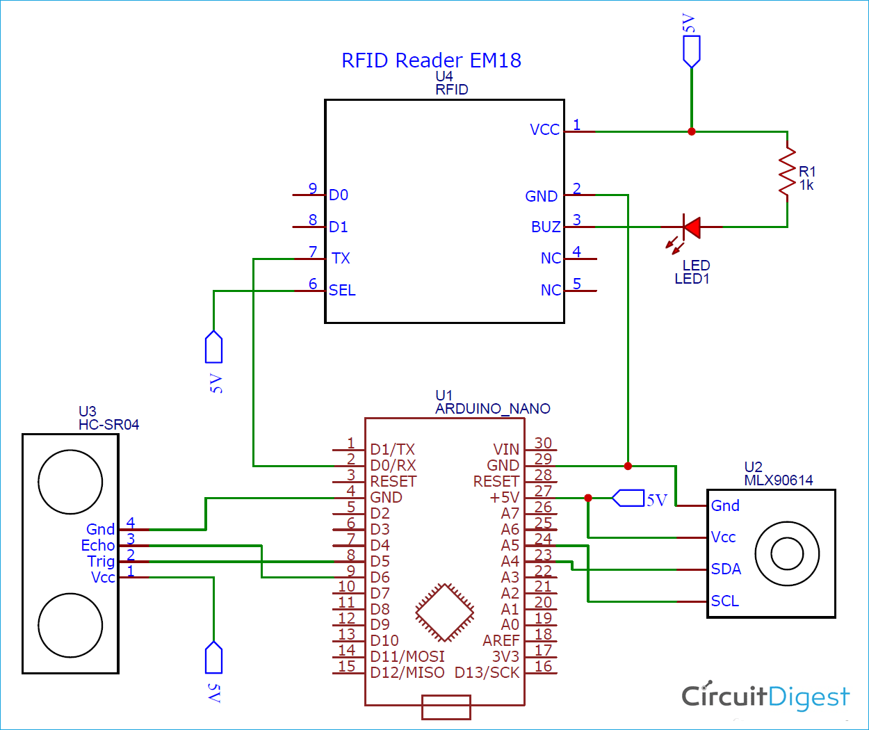 Arduino based RFID Contactless IR Temperature Screening System Circuit Diagram