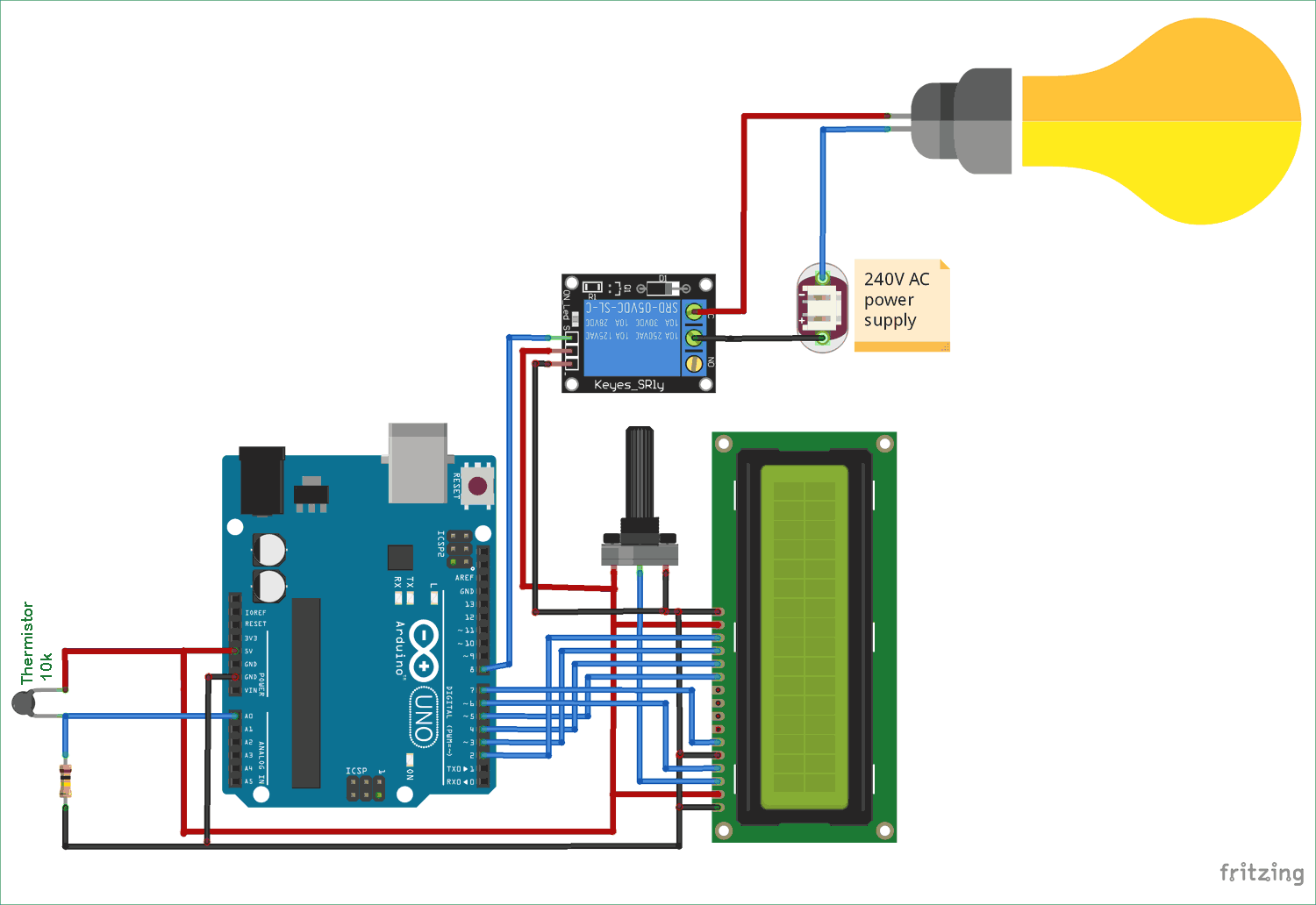 Temperature Controlled Ac Home Appliances Using Arduino And Thermistor Relay Circuit Diagram