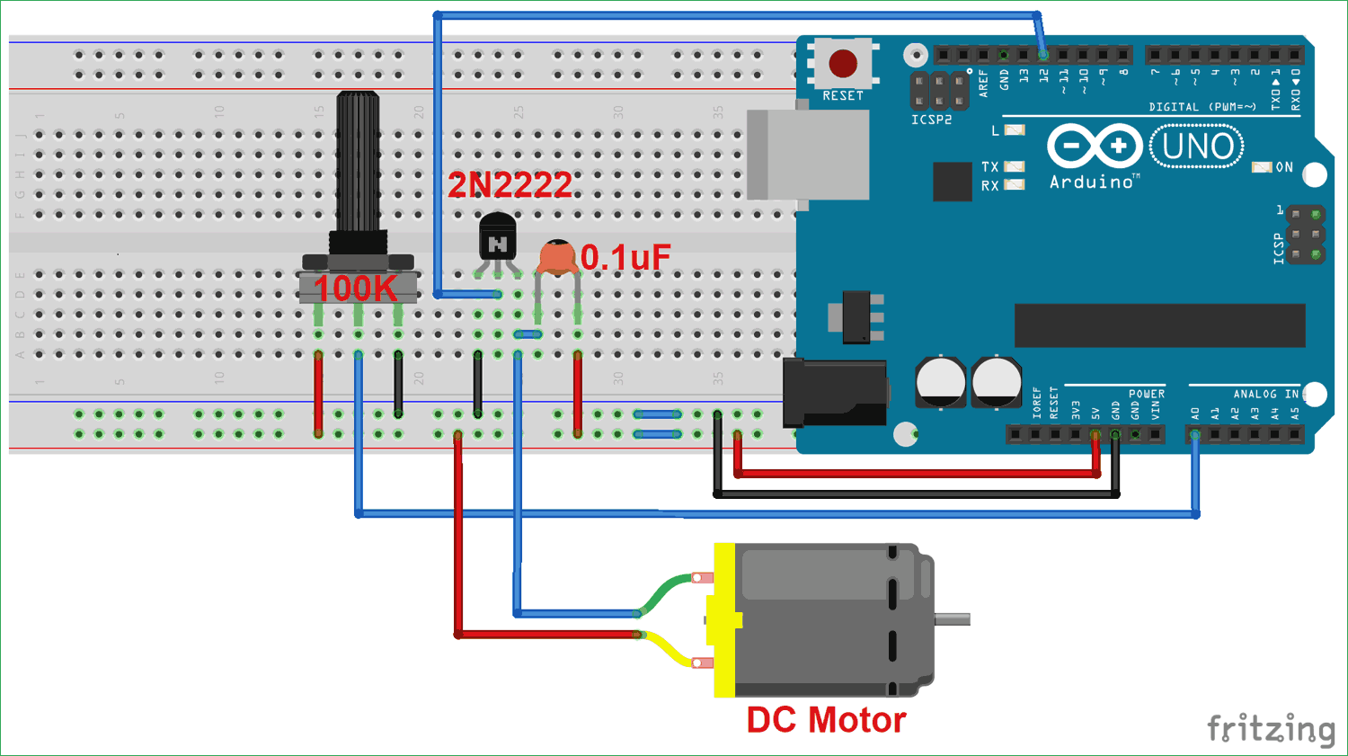 Dc Motor Speed Control Using Arduino And Potentiometer Understand Circuit Operation Diagram