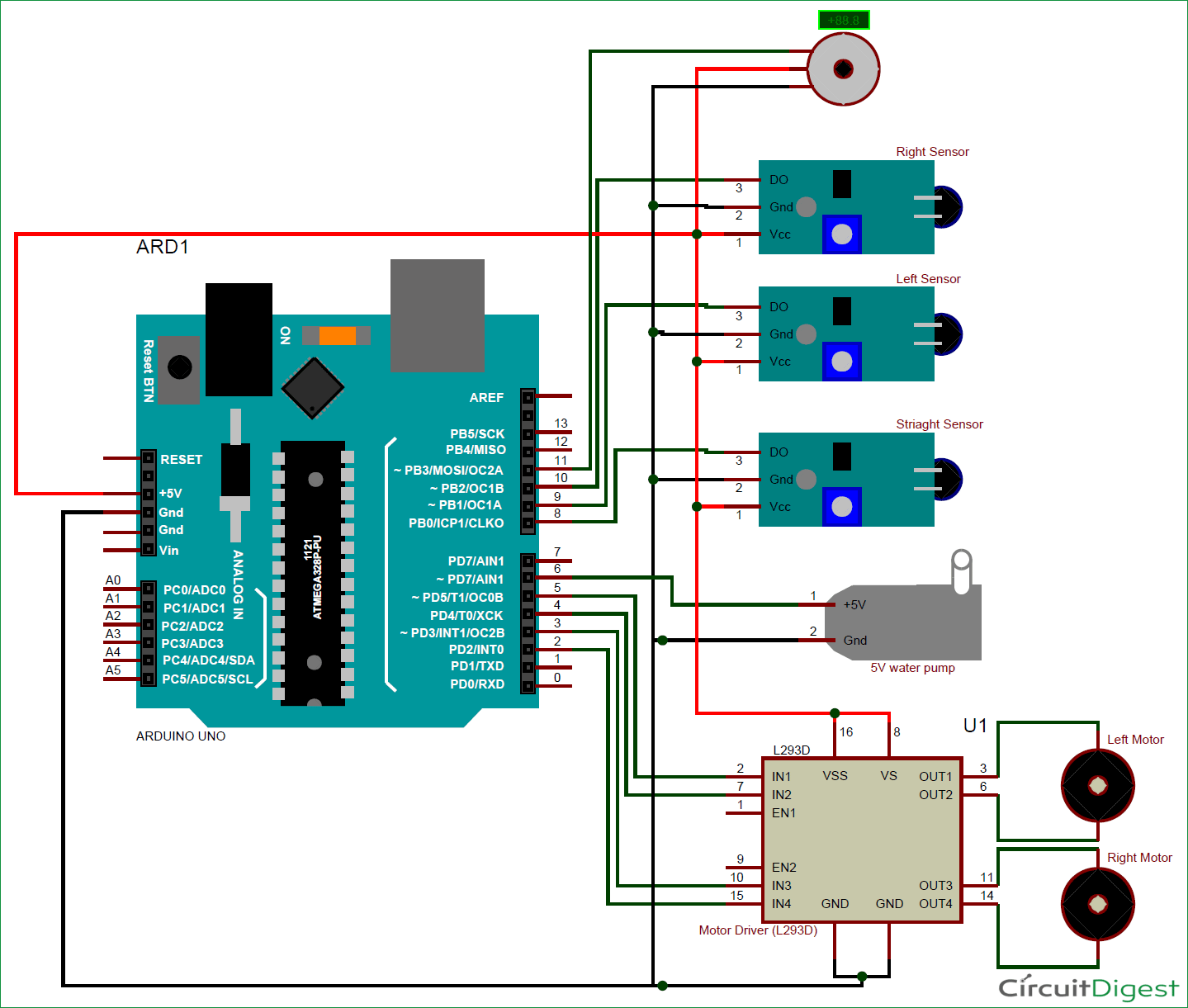 Diy Arduino Based Fire Fighting Robot Project With Code And Circuit Relay Delay Free Electronic Circuits 8085 Projects Diagram