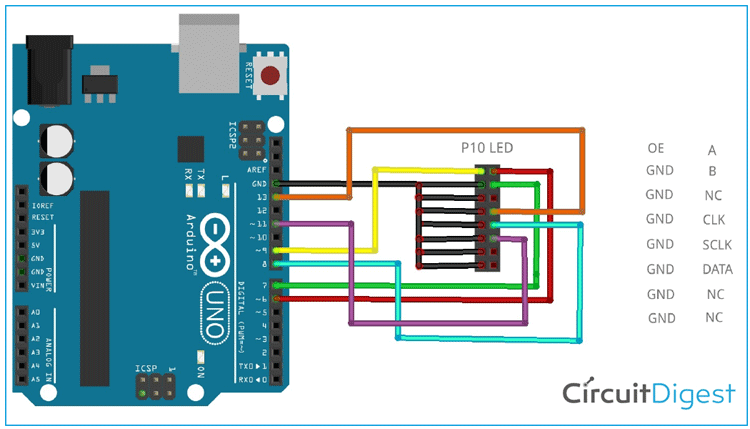 Arduino P10 LED Display Based Digital Notice Board Circuit Diagram