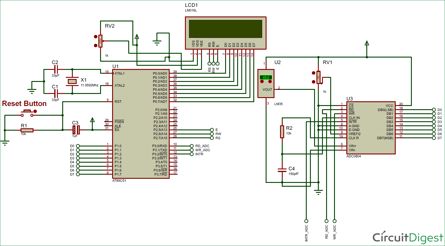 Digital Thermometer using LM35 and 8051 Microcontroller