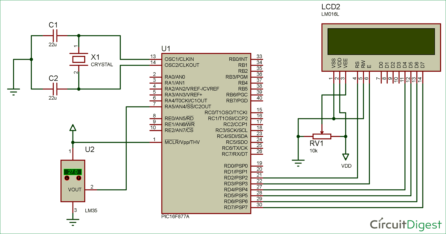 Digital Thermometer Circuit diagram using LM35 and PIC microcontroller