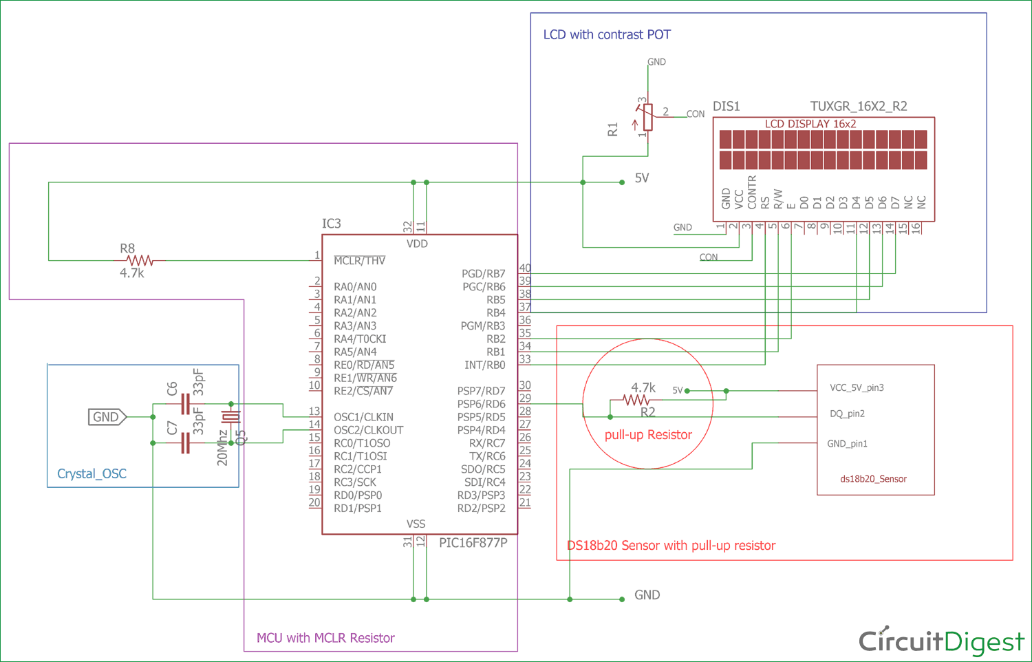 Digital Thermometer Using A Pic Microcontroller And Ds18b20 Introduction To 16f877 Circuit Diagram