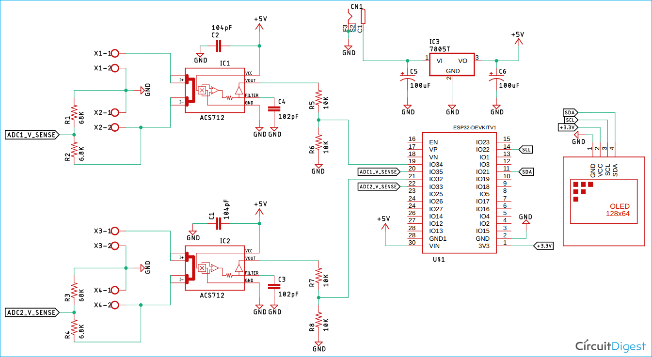 ESP32 Based Efficiency Meter Circuit Diagram