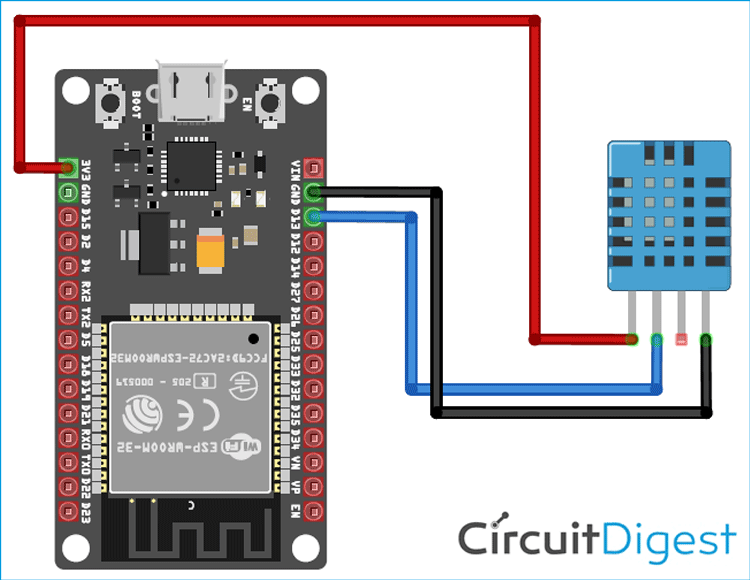 ESP32 with DHT11 Circuit Diagram