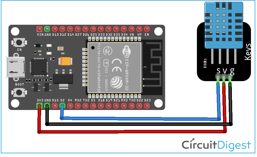 ESP32 Interfacing with DHT11 Circuit Diagram
