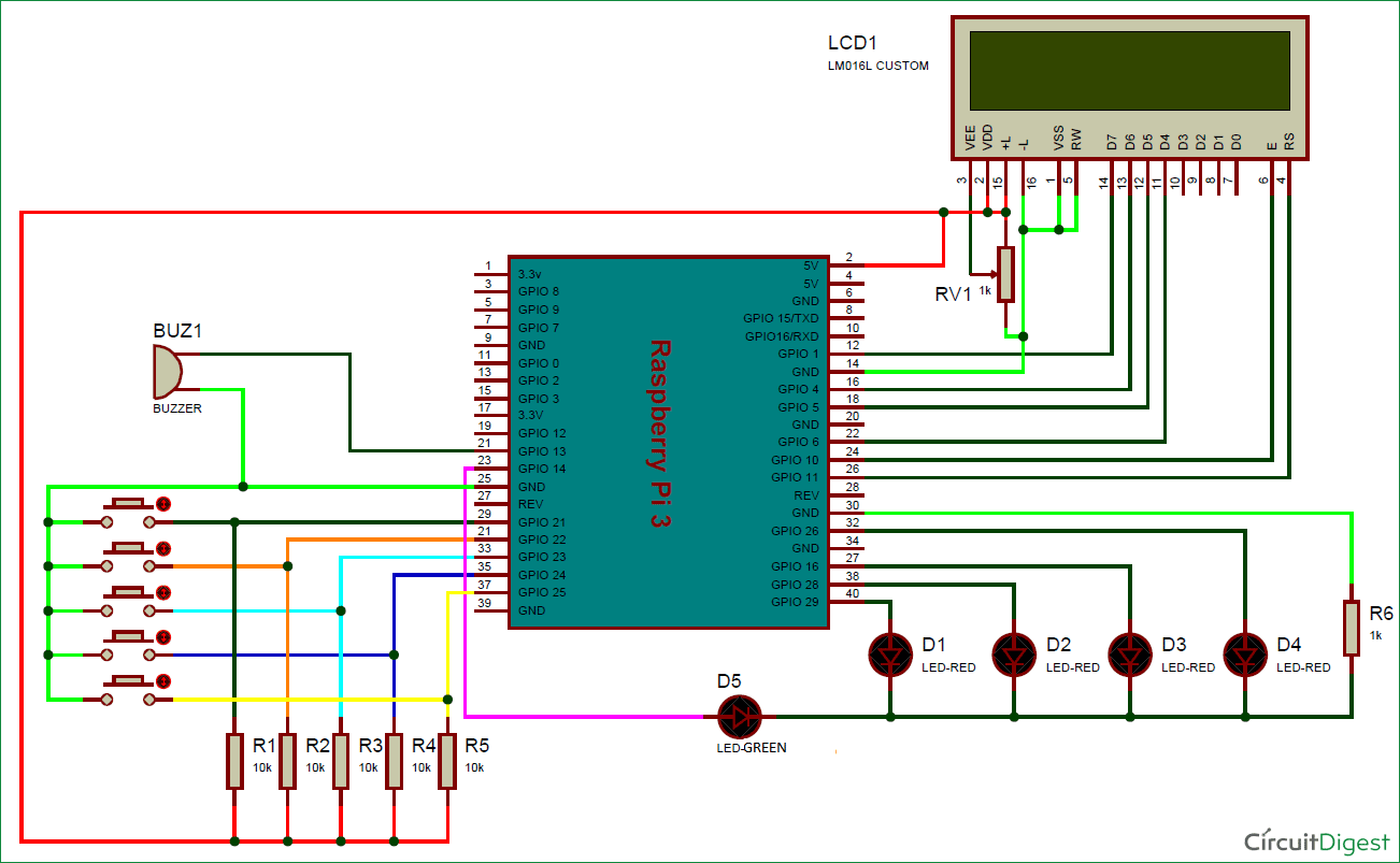 Electronic Voting Machine using Raspberry Pi Circuit diagram