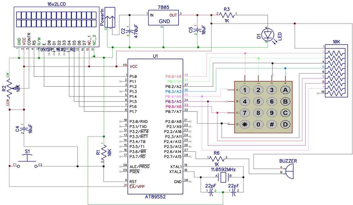 Digital Code Lock Project Using 8051 Microcontroller Light Keyboard Wiring Diagram Electronic Circuit
